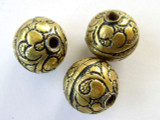 Engraved Brass Round Tibetan Bead 17mm (TB218)
