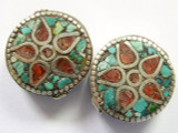Turquoise, Coral & Silver Flower Tibetan Bead 22mm (TB215)