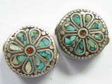 Turquoise, Coral & Silver Flower Tibetan Bead 22mm (TB260)