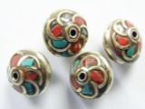 Turquoise, Coral & Silver Tibetan Bead 13mm (TB308)