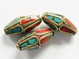 Turquoise, Coral & Brass Tibetan Bicone Bead 22mm (TB314)