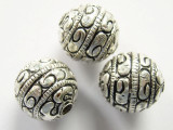 Engraved Silver Round Tibetan Bead 15mm (TB316)