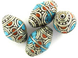 Turquoise, Coral & Silver Tibetan Bead 21mm (TB472)