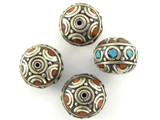 Turquoise, Coral & Silver Tibetan Bead 16mm (TB475)