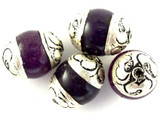 Purple Resin w/Silver Caps Tibetan Bead 16mm (TB325)