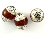Carnelian Resin w/Silver Caps Tibetan Bead 16mm (TB327)
