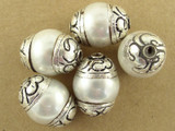 Pearlized Shell w/Silver Caps Tibetan Bead 16mm (TB330)