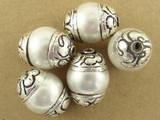 Pearlized Shell w/Silver Caps Tibetan Bead 16mm (TB330)