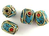 Turquoise, Coral & Brass Tibetan Bead 14mm (TB335)