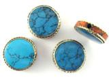 Turquoise, Coral & Brass Tibetan Bead 18mm (TB439)