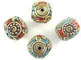 Turquoise, Coral & Brass Tibetan Bead 14mm (TB440)