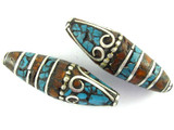 Turquoise, Coral & Silver Tibetan Bead 33mm (TB393)