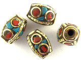 Turquoise, Coral & Silver Tibetan Bead 14mm (TB346)