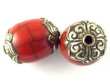 Red Resin w/Silver Caps Tibetan Bead 30mm (TB508)