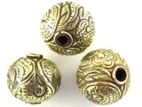Ornate Brass Round Tibetan Bead 19mm (TB359)