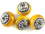Amber Resin w/Silver Caps Tibetan Bead 22mm (TB418)