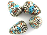 Turquoise, Coral & Silver Tibetan Bead 21mm (TB471)