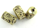 Brass Cylinder w/Serpent Tibetan Bead 32mm (TB539)