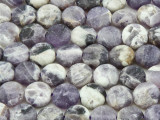 Matte Chevron Amethyst Round Tabular Gemstone Beads 10mm (GS4114)