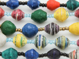 "Assorted Recycled Paper Beads - 36"" strand (PA105)"