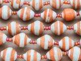 "Orange & White Recycled Paper Beads - 36"" strand (PA111)"