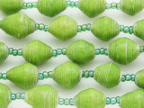 "Lime Green Recycled Paper Beads - 36"" strand (PA112)"