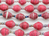 "Dark Pink Recycled Paper Beads - 36"" strand (PA113)"
