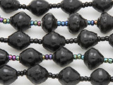 "Black Painted Recycled Paper Beads - 36"" strand (PA116)"