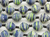 "Blue & Green Recycled Paper Beads - 36"" strand (PA117)"