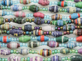 "Assorted Recycled Paper Beads - 60"" strand (PA120)"