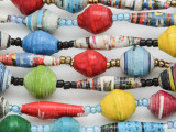 "Assorted Recycled Paper Beads - 62"" strand (PA121)"