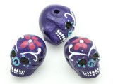 Purple Sugar Skull Painted Ceramic Bead 22mm - Peru (CER88)