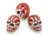 Red Sugar Skull Painted Ceramic Bead 22mm- Peru (CER92)