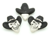 Cowboy Skull Painted Ceramic Bead 34mm - Peru (CER94)