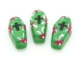 Green Coffin Painted Ceramic Bead 27mm - Peru (CER95)