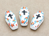 White Coffin Painted Ceramic Bead 27mm - Peru (CER100)