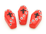 Red Coffin Painted Ceramic Bead 27mm - Peru (CER102)