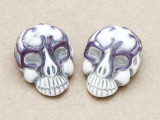 Purple Ornate Skull Ceramic Bead 28mm - Peru (CER110)