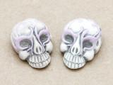 Lilac Ornate Skull Ceramic Bead 28mm - Peru (CER111)
