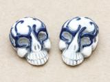 Blue Ornate Skull Ceramic Bead 28mm - Peru (CER112)