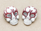 Red Ornate Skull Ceramic Bead 28mm - Peru (CER115)