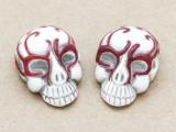 Red Ornate Skull Ceramic Bead 28mm - Peru (CER115)
