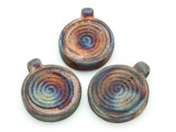 Spiral Raku Ceramic Bead - Pendant 34mm - Peru (CER121)