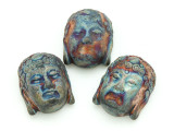 Buddha Head Raku Ceramic Bead 25mm - Peru (CER122)