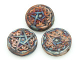 Celtic Knot & Star Raku Ceramic Bead 26mm - Peru (CER127)