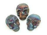 Ornate Skull Raku Ceramic Bead 21mm - Peru (CER136)