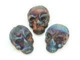 Ornate Skull Raku Ceramic Bead 21mm - Peru (CER136)
