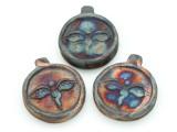 Buddha Eyes Raku Ceramic Bead - Pendant 38mm - Peru (CER138)