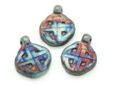 Celtic Knot Raku Ceramic Bead - Pendant 32mm - Peru (CER139)