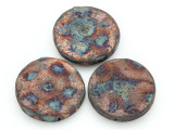 Aztec Coin Raku Ceramic Bead 43mm - Peru (CER143)